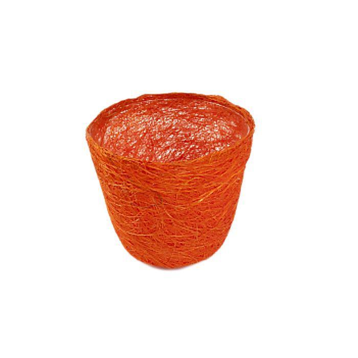 Кашпо, сизаль, круг, ярко-оранжевая 10 х 12 см