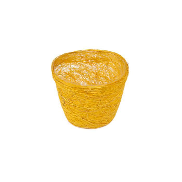 Кашпо, сизаль, круг, жёлтая 10 х 12 см