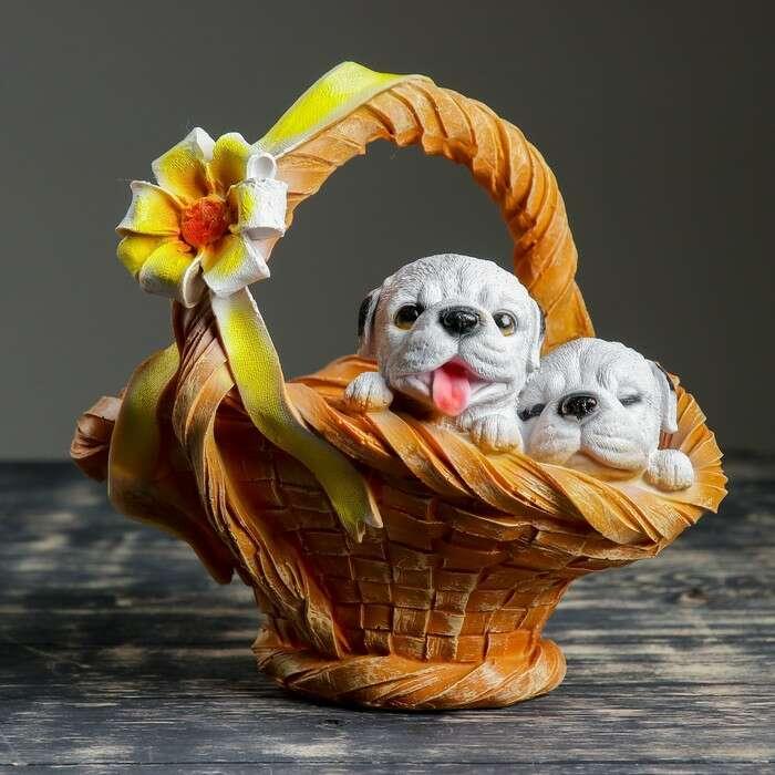"""Фигурное кашпо """"Щенки в цветочной корзине"""" 27х30 см"""