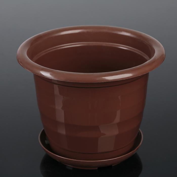 """Горшок для цветов с поддоном 2 л """"Арена"""", цвет коричневый"""