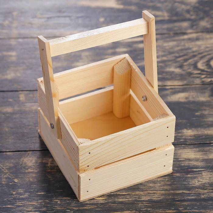"""Ящик-кашпо подарочный """"Однушка Лайт"""", двухреечный, ручка деревянная (складная), натуральный"""