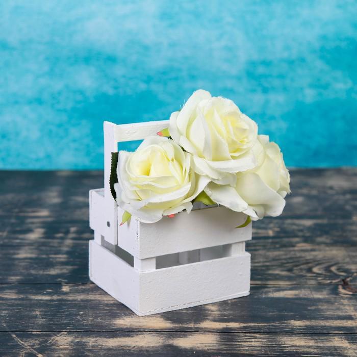 """Ящик-кашпо подарочный """"Однушка Лайт"""", двухреечный, ручка деревянная (складная), белый"""