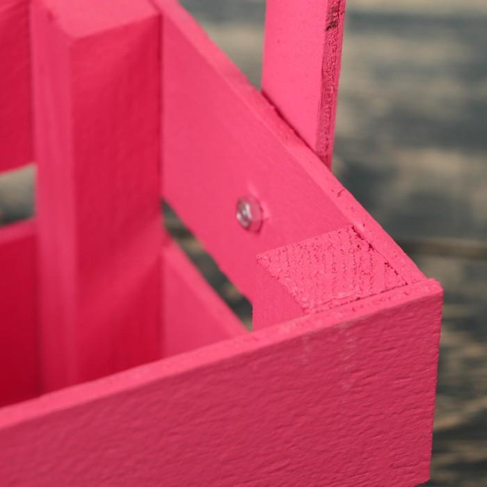 """Ящик-кашпо подарочный """"Однушка Лайт"""", двухреечный, ручка деревянная (складная), розовый"""