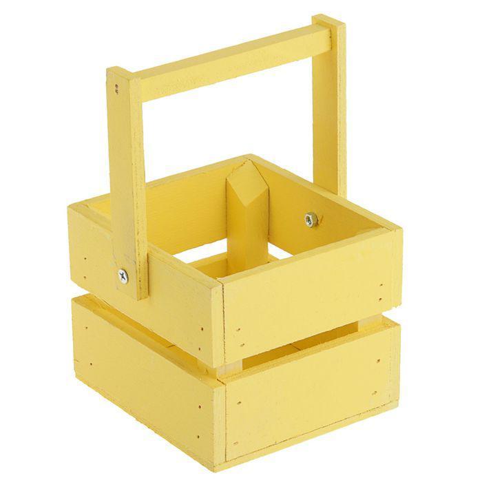 """Ящик-кашпо подарочный """"Однушка Лайт"""", двухреечный, ручка деревянная (складная), жёлтый"""