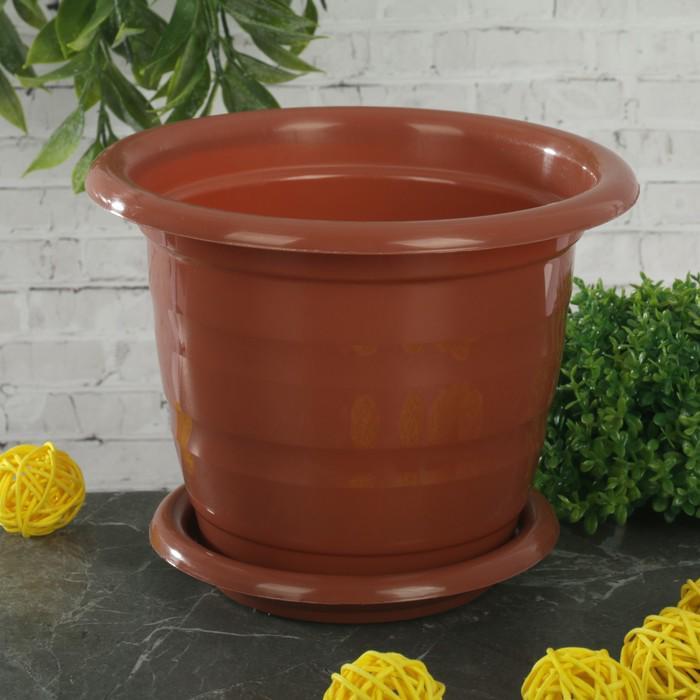 """Горшок для цветов с поддоном 1 л """"Виола"""", цвет коричневый"""