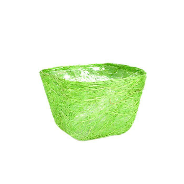 Кашпо, сизаль, квадрат, светло-зелёная 10 х 14 х 14 см