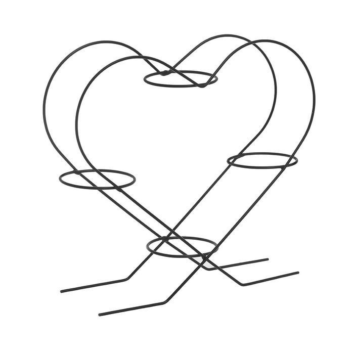 """Подставка для цветов d=7 см """"Сердце-4"""", цвет черный"""
