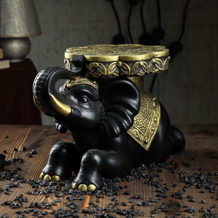 """Сувенир-подставка """"Индийский слон"""" 39 х 26 см чёрный с золотом"""