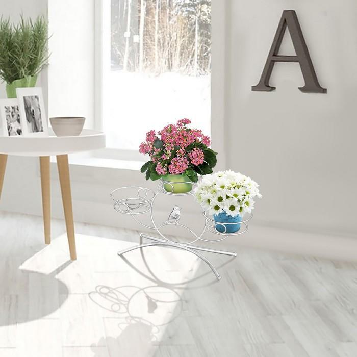 """Подставка для цветов """"Камелия 3"""", цвет белое серебро"""