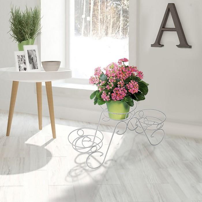 """Подставка для цветов d=15,5 см """"Фиалка-3"""", цвет белое серебро"""