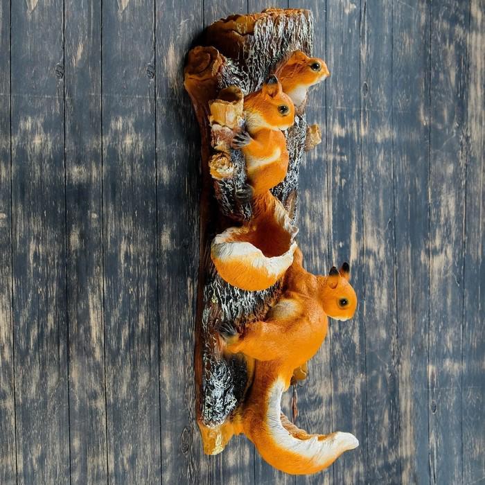 """Подвесной декор """"Навесные Белки поилки на дереве"""" 33*20*62 см"""