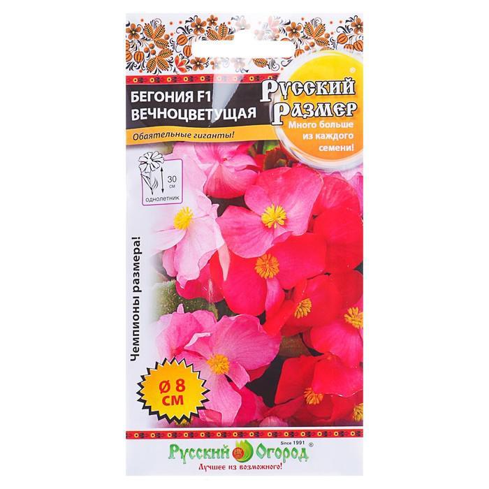 Семена цветов Бегония вечноцветущая F1, серия Русский размер смесь, О, 5 шт