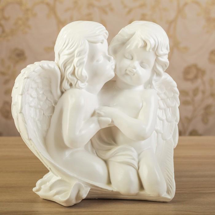 """Статуэтка """"Пара ангелов в крыле"""", белая, 27 см"""