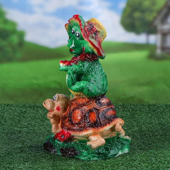 """Садовая фигура """"Жаба на черепахе"""" 20x33 см"""