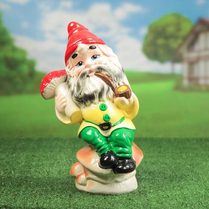 """Садовая фигура """"Гном на грибе"""", с трубкой, микс, 40 см"""