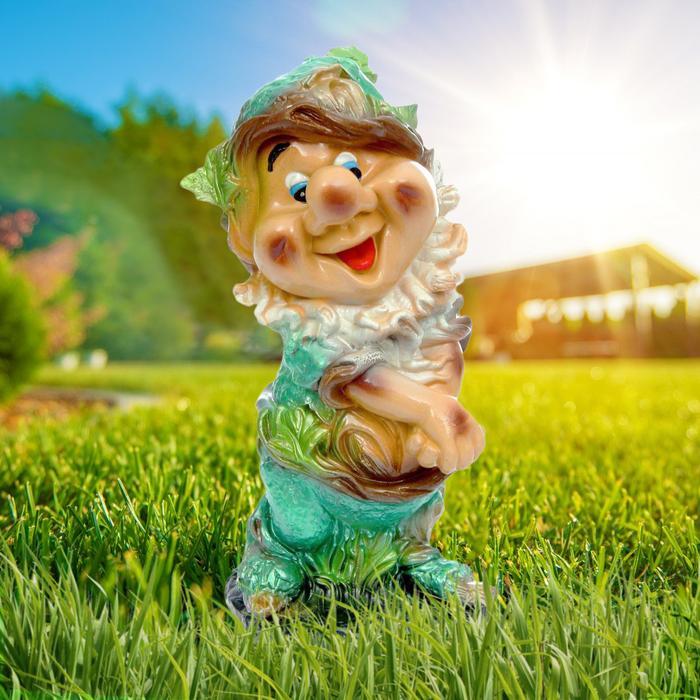 """Садовая фигура """"Счастливый гном"""", зелёная, 39 см"""