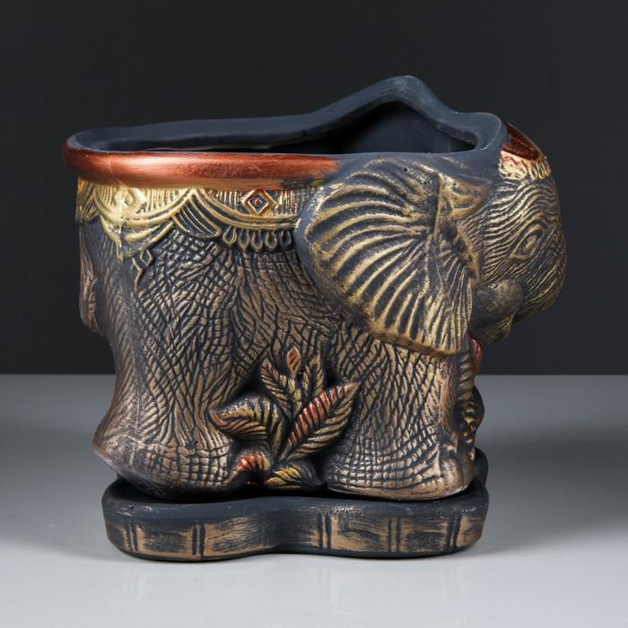 """Фигурное кашпо """"Слон"""" медь, 3,7 л"""