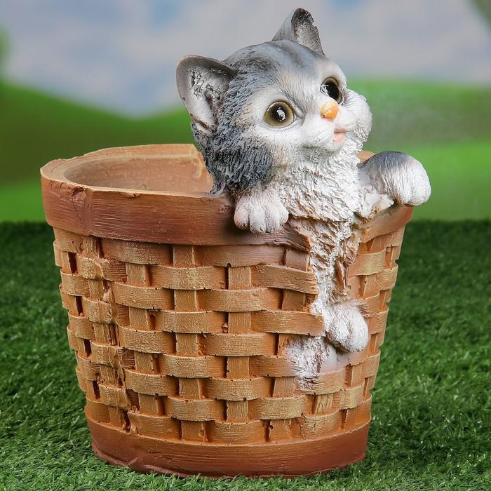 "Фигурное кашпо ""Котенок в круглой корзине"" 21х18см"