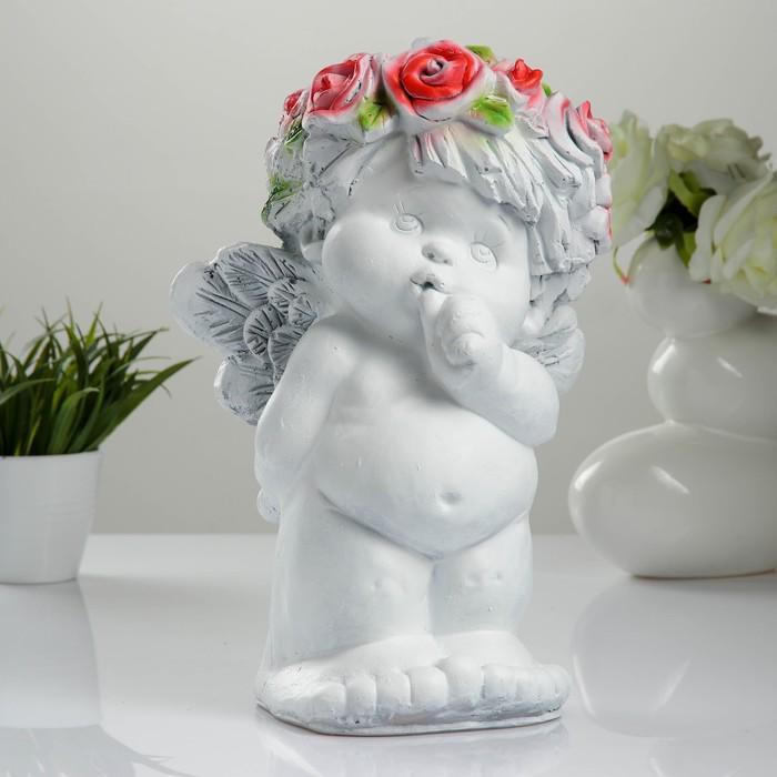 Фигура «Ангел с пальчиком во рту» белый 33 × 23 × 22 см