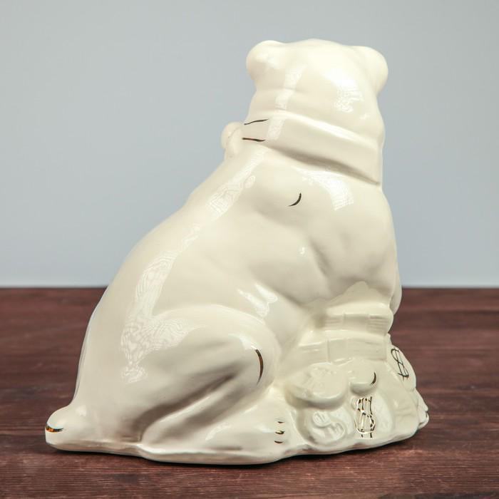 """Садовая фигура """"Собака на монетах"""", глянец, белый"""