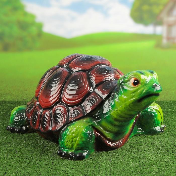 """Садовая фигура """"Черепаха"""" большая, глянец, зелёная"""
