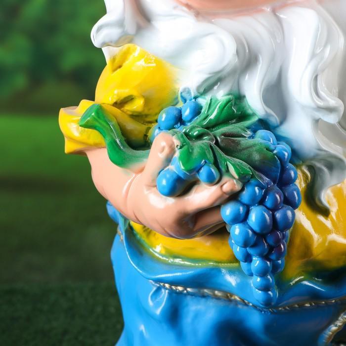 """Садовая фигура """"Гном с виноградом и фонарём"""", большой, 65 см"""