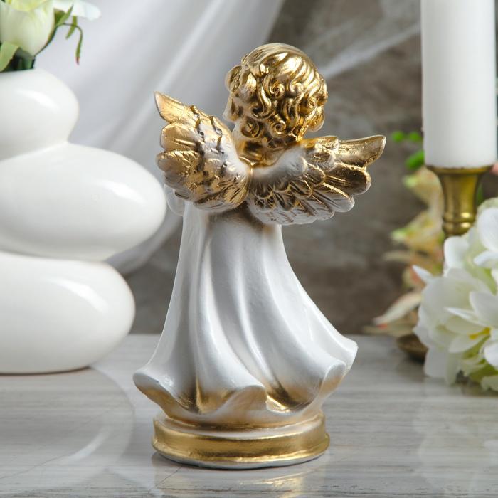 """Статуэтка """"Ангел молящийся"""" малая, белая"""