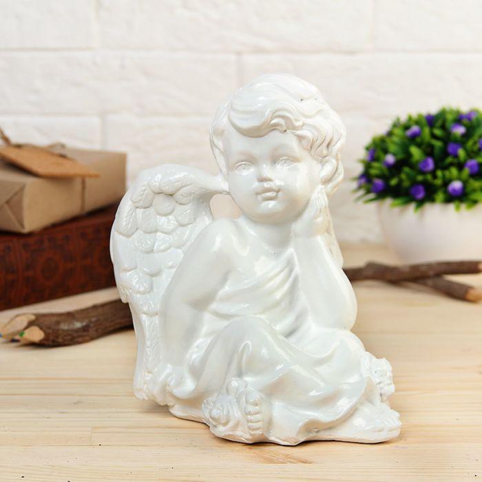 "Статуэтка ""Ангел думающий  с розой"" белая"