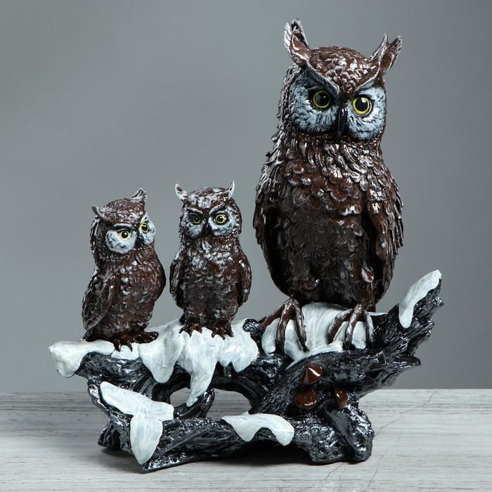 """Статуэтка """"Три совы на ветке"""" цветной, рисованный, 36 см"""