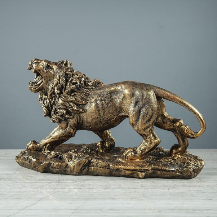 """Статуэтка """"Рычащий лев"""", бронзовый цвет, 22 см"""