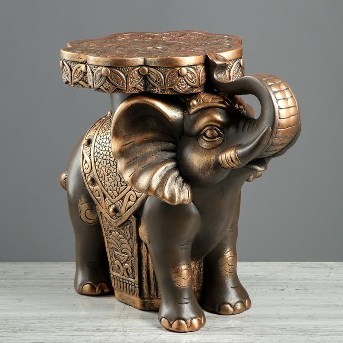 """Подставка напольная """"Слон"""" 33 см, коричнево-золотой"""
