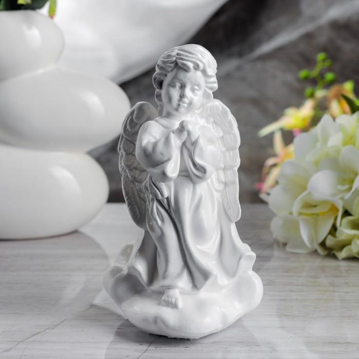 """Сувенир """"Молящийся ангел в платье"""" средний, белый"""