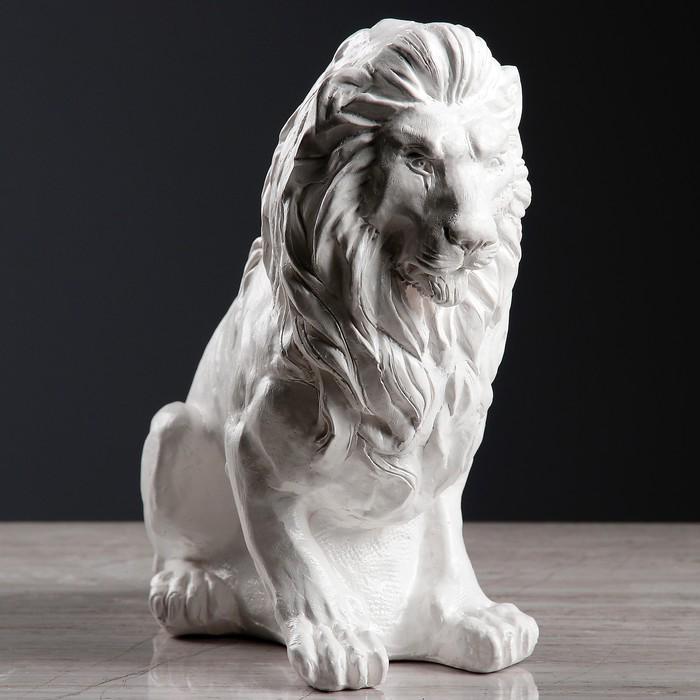 "Фигура ""Лев сидя малый"" белый 26х14х25см"