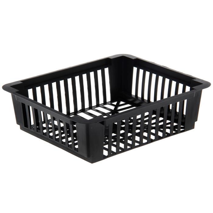 Корзина для луковичных, квадратная, 24,5 × 20,5 × 7 см, чёрная