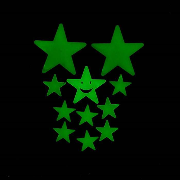 """Набор светящегося декора """"Звёзды"""" 12 шт., зелёный"""
