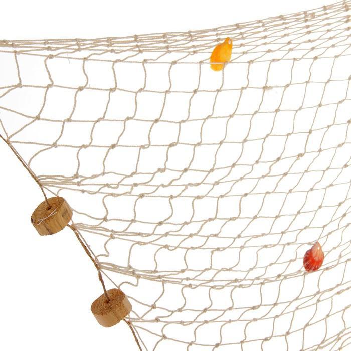Сетка с ракушками и буйками, 150*140 см, белая