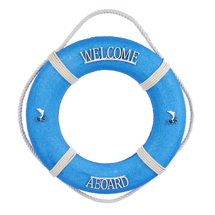 """Спасательный круг с бечевкой """"welcome abroad"""", 7*46*46 см, синий"""