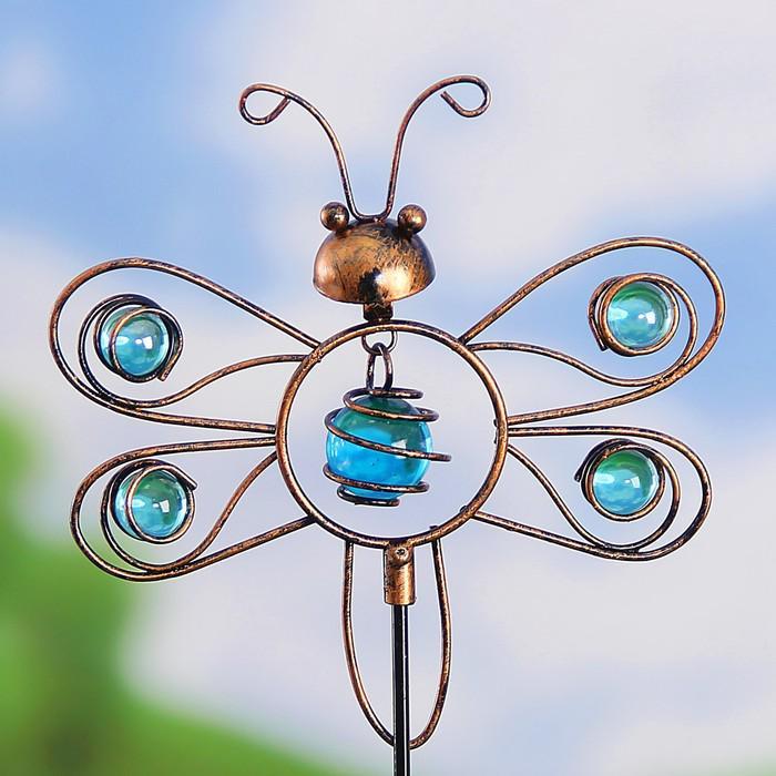 "Декоративный штекер ""Бабочка"" голубые бусины"
