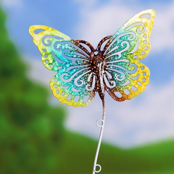 "Декоративный штекер ""Бабочка"" жёлто-зелёная"