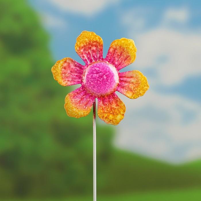 """Декоративный штекер """"Солнечный цветок"""" розовый"""