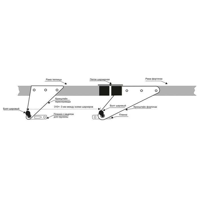 Автомат для проветривания теплиц «Микроклимат-1», 1 пружина, горизонтальное открывание