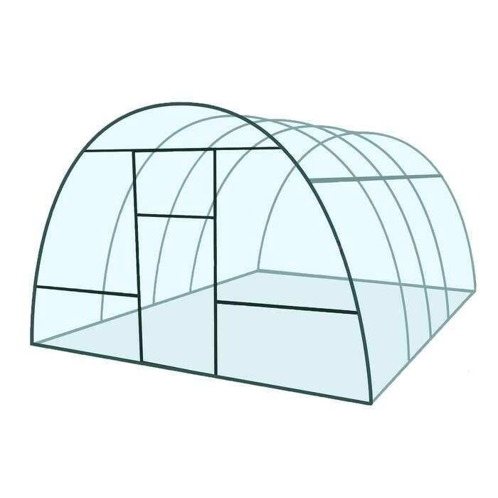 Каркас теплицы «Базовая», 4 × 3 × 2,1 м, металл, профиль 20 × 20 мм, без поликарбоната, 2 форточки