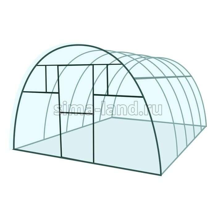 Каркас теплицы «Комфорт», 6 × 3 × 2,1 м, металл, профиль 20 × 20 мм, без поликарбоната, 4 форточки,