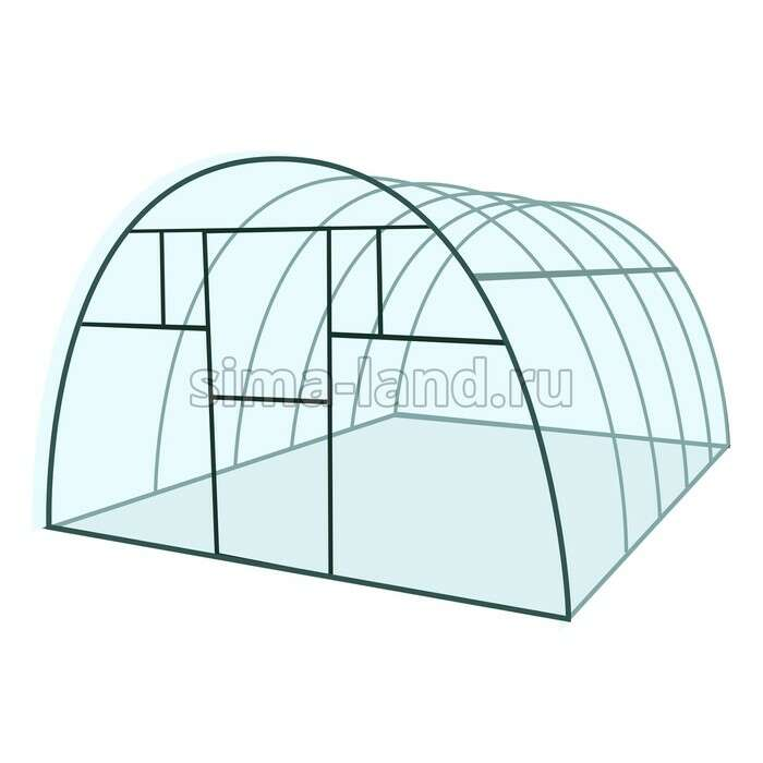 Каркас теплицы «Премиум», 6 × 3 × 2,1 м, металл, профиль 40 × 20 мм, без поликарбоната, 4 форточки,