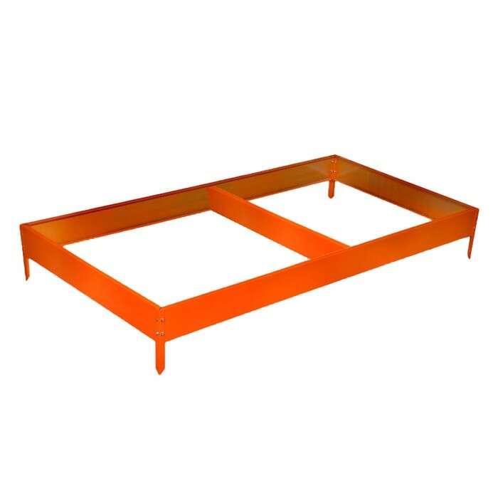 Грядка оцинкованная, 390 × 100 × 15 см, оранжевая