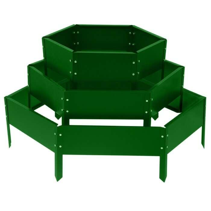 Клумба оцинкованная, 3 яруса, d = 40–80–120 см, h = 45 см, ярко-зелёная, Greengo