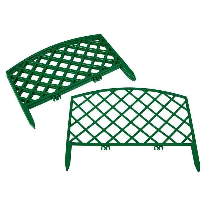 Ограждение декоративное, 35 × 220 см, 5 секций, пластик, зелёное, ROMANIKA