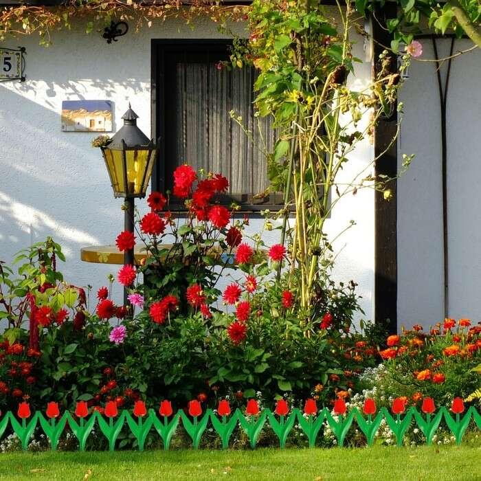 Ограждение декоративное, 30 × 225 см, 5 секций, пластик, красный цветок, «Тюльпан»