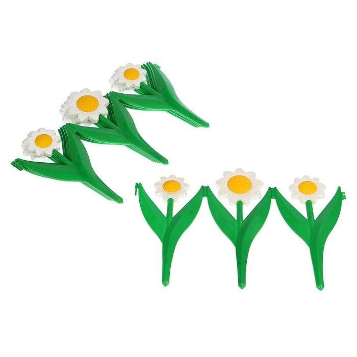 Ограждение декоративное, 32.5 × 225 см, 5 секций, пластик, белый цветок «Ромашка»