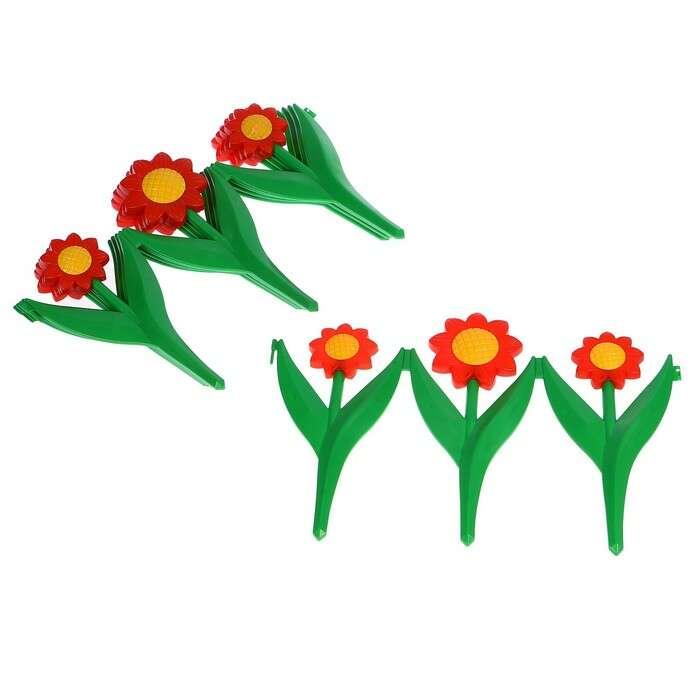 Ограждение декоративное, 32,5 × 225 см, 5 секций, пластик, красный цветок, «Ромашка»